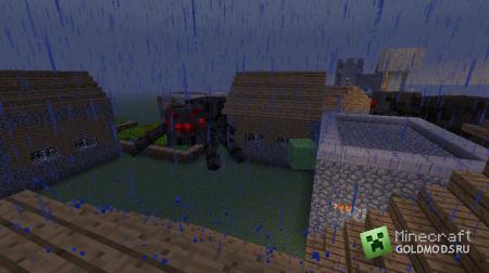 Улучшенные сельские дома & Гигантские пауки в minecraft