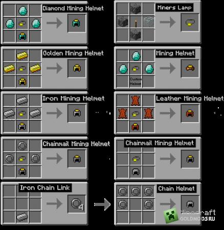 Скачать Miner Helmets для minecraft 1.2.5 бесплатно